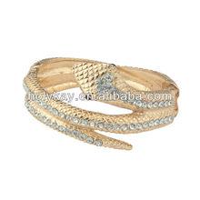 Snake shape gold bangles with crystal,elegant gold bangles