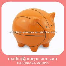 New design ceramic coin bank piggy shape basketball design