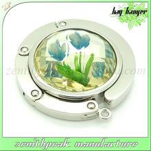 2013 best flower acrylic stone silver bag hanger,fold hanger,purse hanger