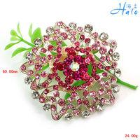 Rhinestone Women Fashion Accessories Handmade Pink Flower Cheap Wholesale Custom Brooches P458-011