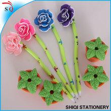 Best selling exquisite color rose decoration plastic ballpoint pen