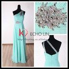 Elegant ruffle and beaded latest design one-shoulder kaftan dress