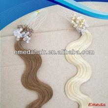 Wholesale 5a+ top grade virgin weaving 100% human hair indian remy micro loop ring hair extension