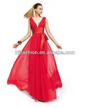 Spaghetti Strap Deep V Neck Satin Waist With Bow Floor Length Slim Unique prom Dresses