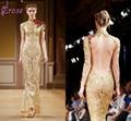 Lst-003 ouro sexy sereia manga longa gola alta backless laço backless vestidos de noite