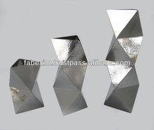 Zig Zag Stainless Steel Flower Vase , Silver Metal Flower Vase , Modern Stainless Steel Vase