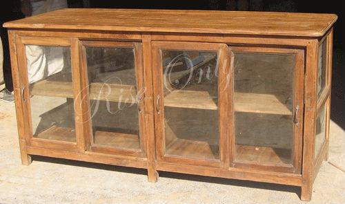 Antigo de madeira teca armário de exposição de vidro