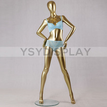 2014 Fashion Style Sexy Body Golden Standing Female Underwear Mannequin for show window display props