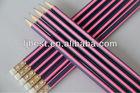 12 pcs matte pink & Black Stripe triangular HB pencil with eraser
