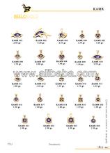 14K Solid Gold Turkish Evil Eye Amulet Pendant Charm