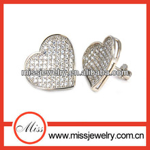 2014 new arrive Valentine's day micro paved cz heart,shinny diamond heart earring