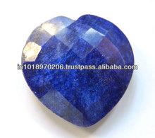 Natural Corundum Heart Shape Checker Cut Briolettes Gems
