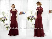 kısa kollu Kraliçe Anne yaka sırf geri dantel aplike zarif kırmızı şifon anne gelin elbiseler