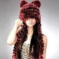 alibaba atacado entregaexpressa 2014 moda rex rabbit fur lenço feito malha chapéu com orelha para as mulheres