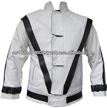 NWT Michal Jackson Commercial Ad White w/ Black Stripes Genuine Leather Jacket - All Sizes