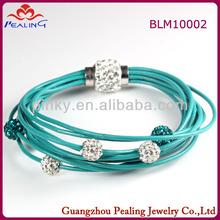 blue rubber band multi-wrap crystal shamballa bracelet for girl