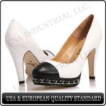 Women Spring Handmade Genuine Leather White High Heel Shoes