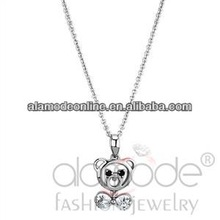 Cute animal bear shaped cz necklace jewelry designs
