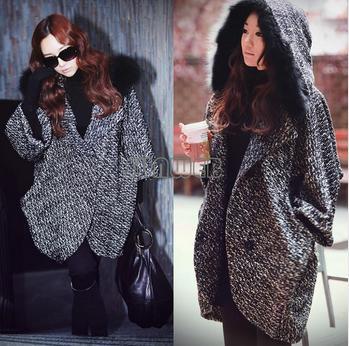 Fashion Women's Cloak Warm Batwing Jacket Overcoat Woolen Outwear Hooded Coat 19516
