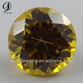 Bon prix de forme ronde zircon cubique synthétiques jaune, gemmes gros