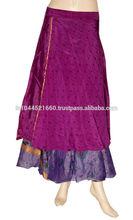 eski ipek sari üç katmanlı tersinir çok aşınma sarma uzun etek tasarımı