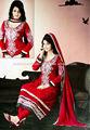 أحمر ارتداء الطرف مطرزة هندية السلوار غير مخيط تناسب اللباس التقليدي الهند