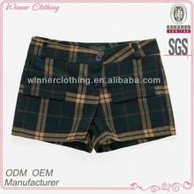 ladies new modern fashionable 100% cotton check shorts