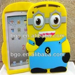 cute minions cell phone case cover,minion tablet case for ipad mini2,cute 3d minions silicone cover for ipad mini2