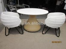 Round Rattan Wicker Aluminium living room set table chairs