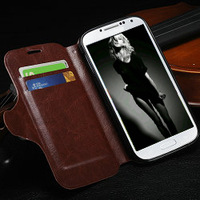 2014Wholesale phone case for samsung galaxy s4 , wallet leather cases for galaxy s4,crazy horse purse cover for galaxy s4 i9500