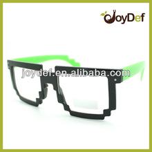 New trendy neon dual color party raver clear lens video 8 bit pixel glasses
