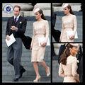 Ce1033 Kate Middleton creme renda vestidos de manga comprida Bateau joelho de comprimento vestidos de noite da celebridade