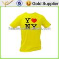 高品質の安い価格のプリントナイロンスパンデックス男性用の黄色のt- シャツ