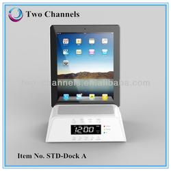 LCD FM Radio Alarm Clock Bluetooth Speaker With Docking Station for Apple iPhone 5/ iPod/Samsung White
