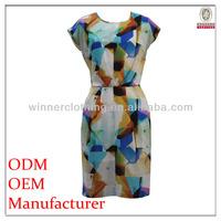 Best Seller Printed Design comfortable side slit design knee length short sleeves summer dresses for women