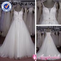AM0451 Elegant Spaghetti Straps German Wedding Dress Designers