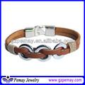 2014 de moda de cuero pulsera brazalete