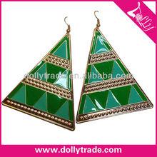 Green Triangle Resin Earrings Jewelry Gold Plated Enamel Earrings For Women Fashion Dangler