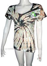 T-Shirt women cotton mix lycra tie-dye frog black/yellow 2
