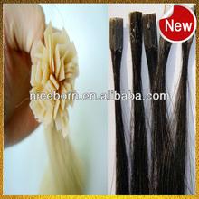 Brazilian human hair pre-bonded V-tip hair extension