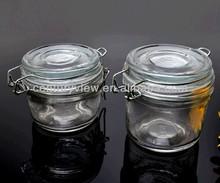 cheap clear honey jar 125/200ml clip lid glass candy jar