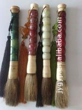 natural jade Chinese writing brush, gemstone calligraphy brush, brush pen