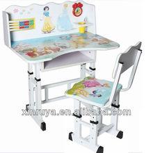 China Design Sticker Wooden Children Desk And Chair Set