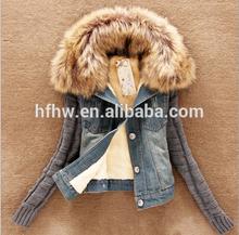 2014 new winter sweater collar ovo Korean Slim denim short sleeve cotton fleece jacket women