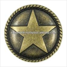 bronze metal button/round shape metal button/,TEXAS STAR, Gold Star on Brown,