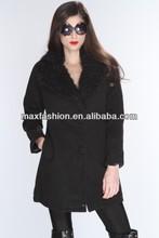 black faux fur trim stylish jackets with fur inside for women,ladies fox fur leather jacket,women leather jacket with fur collar