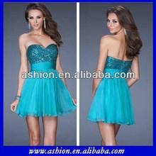 Cd-666 magnífico escote corazón que fluye de la falda de la nueva moda de la imagen vestidos corto vestido de fiesta