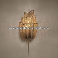 Atlantis Suspension Lamp - Three Tier/ Aluminum Chain Chandelier Lighting In Gold Finish