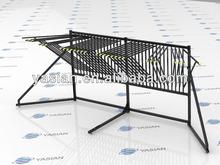 promotional stainless steel swing arm carpet display rack