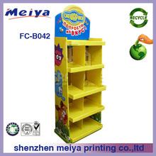 OEM printed POP cardboard cake display stand,floor standing cake display case,cardboard bakery display cabinet